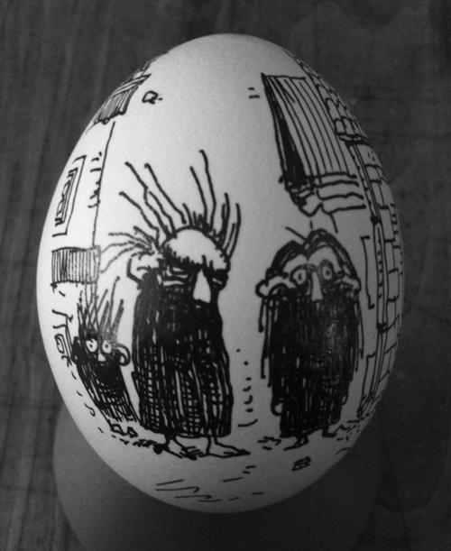 ink on egg... brilliant, by Mateusz Skutnik