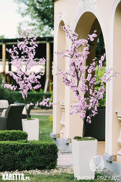 14. Lilac Wedding,Ceremony decoration,Cherry tree flowers / Wesele z bzem,Dekoracja ceremonii,Anioły Przyjęć
