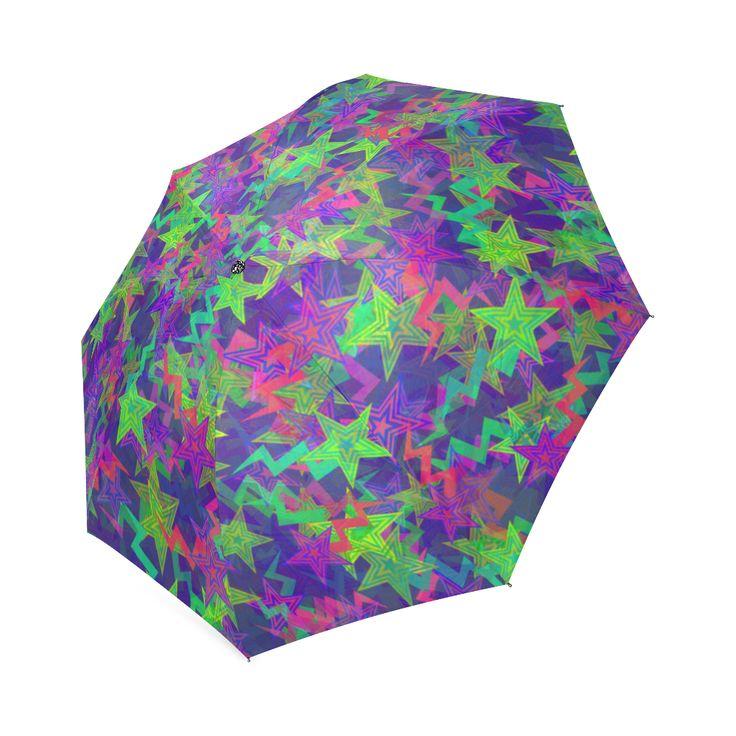 Purple Shooting Stars Foldable Umbrella