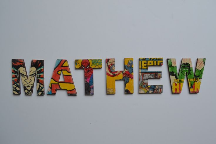 Personalised Vintage Marvel Superhero Letters, Comic heroes, Spider Man, Wooden Name Plaque,  Comic Name letters for Girls and Boys by OldToyStory on Etsy https://www.etsy.com/uk/listing/480159000/personalised-vintage-marvel-superhero