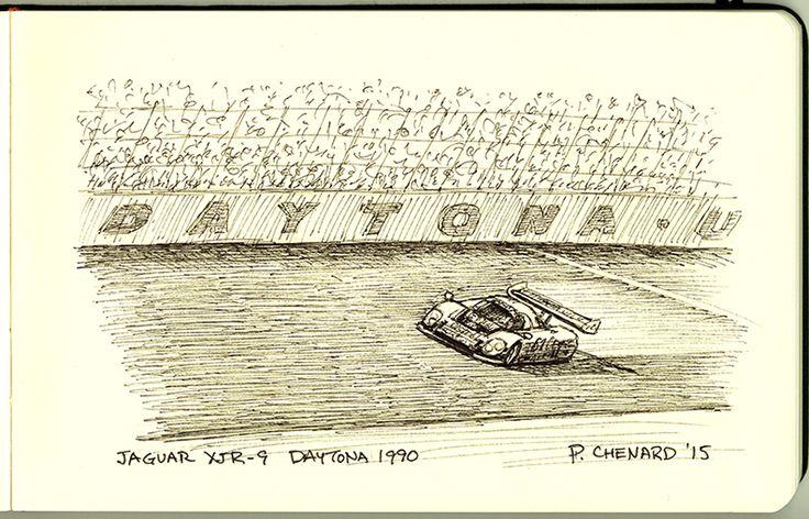 """Jaguar XJR-9 Daytona 1990 Pen&ink sketch in small 8.25""""x 5 ..."""