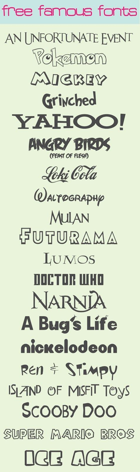 Free Famous Fonts - some great Disney fonts in here!