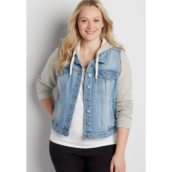 maurices Plus Size - French Terry Denim Jacket With Hood In Light... (80 CAD) ❤ liked on Polyvore featuring outerwear, jackets, plus size, plus size denim jacket, women's plus size jackets, hooded jean jackets, jean jacket and women's plus size denim jacket