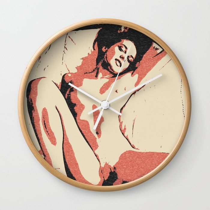 "Flames in bedroom sexy naked girl, erotic nudity, adult nsfw body artwork, kinky brunette posing Wall Clock Available in natural wood, black or white frames, our 10"" diameter unique #Wall #art #Clocks feature a high-impact plexiglass crystal face and a backside hook for easy hanging. Choose black or white hands to match your wall clock frame and art design choice. Clock sits 1.75"" deep and requires 1 AA battery (not included)."