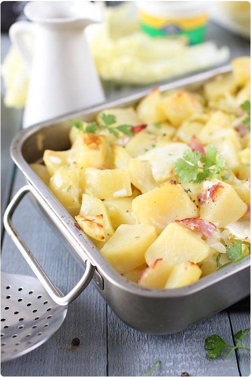 Gratin de pommes de terre à la cancoillotte à l'ail J'ai remplacé le chou chinois par du chou fleur et mis des lardons de volailles