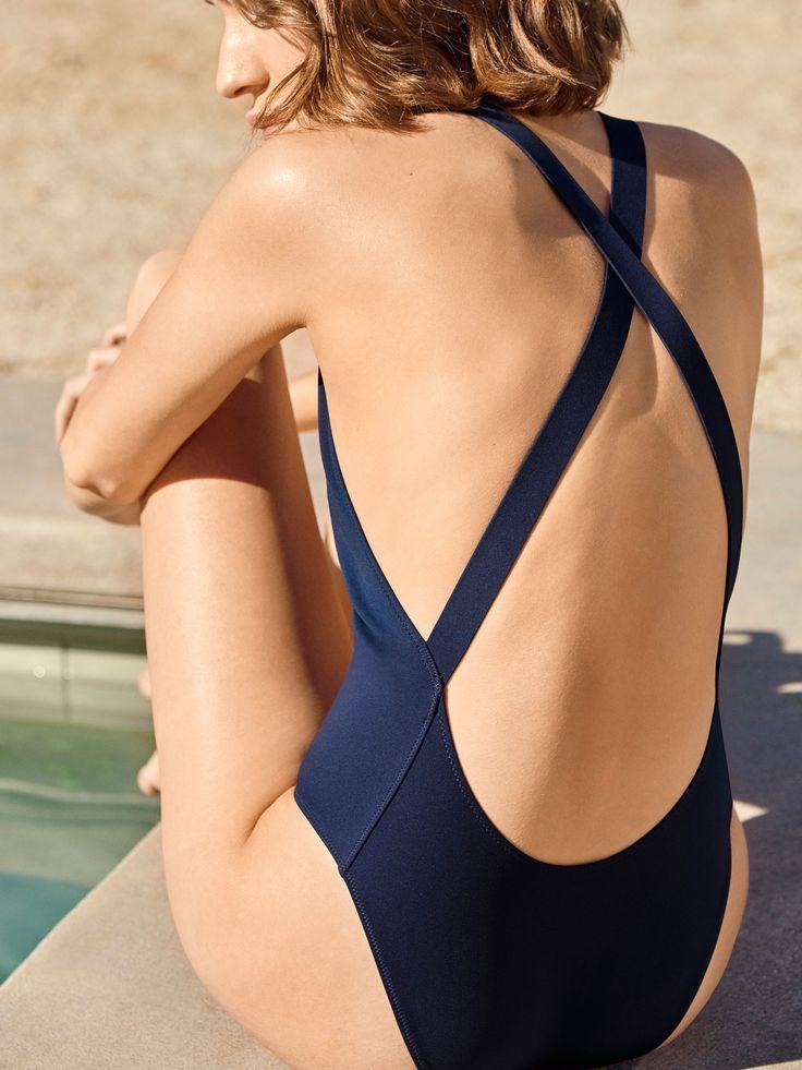 COS | Sculpted navy swimwear
