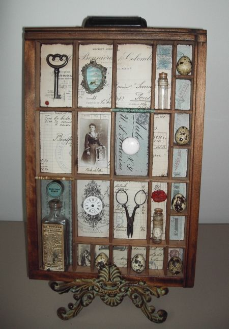 gorgeous altered letterpress tray with handwritten 1800s French letters, etc.
