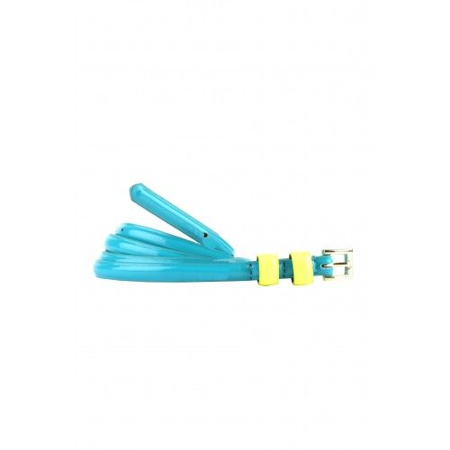Thin pu leather two colored belt in happy colors