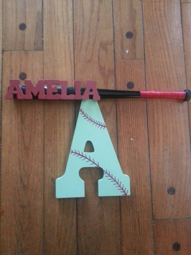softball bat and name wall decor   wooden letter wooden bat paint and ribbon  homemade gift idea