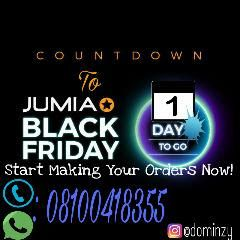 Jumia Black Friday Starts This Monday. Hope You Are Ready?   JUMIA BLACK FRIDAY IS 1 DAY AWAY. ARE YOU READY? GET ALL THE INFORMATION ON THE CALENDAR BELOW AND COME BACK ON Monday THE 14TH OF NOVEMBER OR CALL AN AGENT FOR THE Genuine DETAILS.  November 14th: Upgrade you house with Binatone Polystar. Up to 25% Discount on Gas cookers Electric cookers Micro Wave ovens Rice Cookers e.t.c  November 15th: Kitchen Essentials: with Afro Foods. Up to 45% Discount on kitchen Utensils.  November 16th…