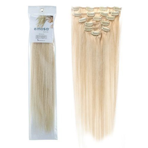 Emosa 100% Real Human Hair Remy Hair Extensions Clip In Extensions(15inch70g60 Platinum Blonde) Royar Beauty focus on Healthy&Natural hair beauty since year 2005, all of our products are produced by real human hairs. We believe healthy is the permanent fashion from all over the world. Royar Beauty is the answer always!   Note: Real human hair looks more frizzier. Synthetic hair looks smooth but it is made by cheap material which is not good for human.   Note: 70g is the basic weig..