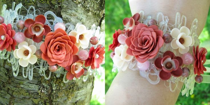 Polymer flowers on a Bracelet