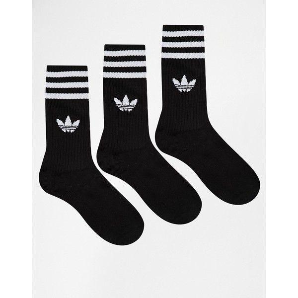 adidas Originals Solid Crew Socks (£10) ❤ liked on Polyvore featuring intimates, hosiery, socks, accessories, black, blackwhite, black hosiery, adidas, crew socks и black striped socks