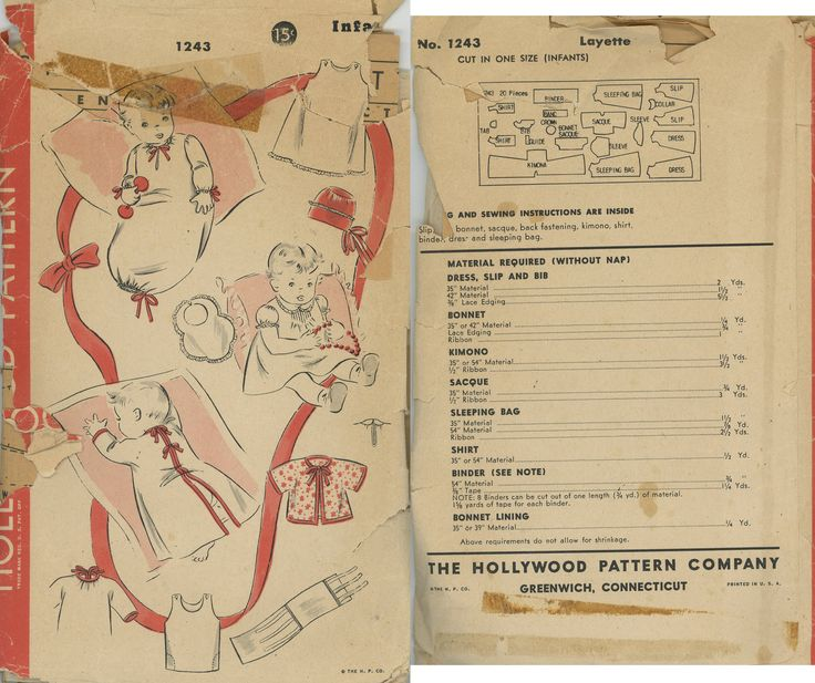 1940s Layette Hollywood Pattern 1243