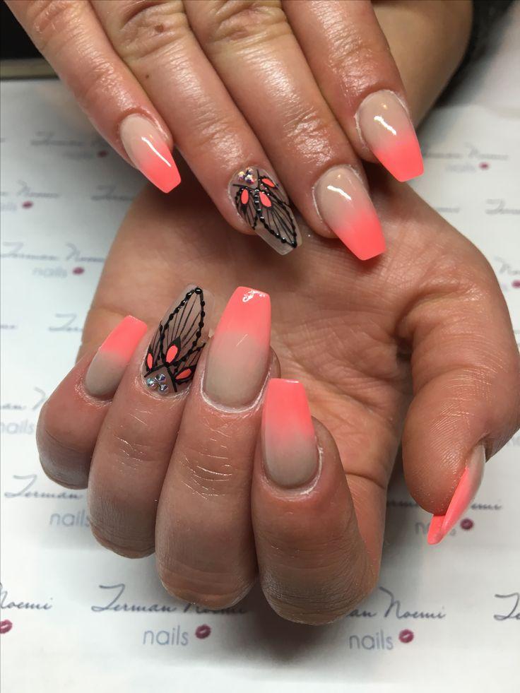 Coral nails, ombre nails, art, love nails! ❤️