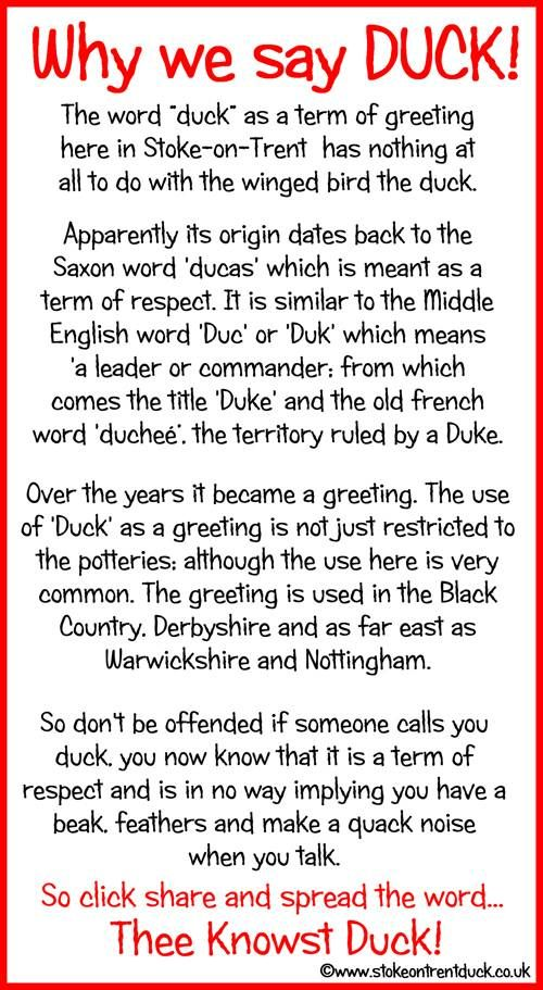 Why we say Duck in the Potteries!