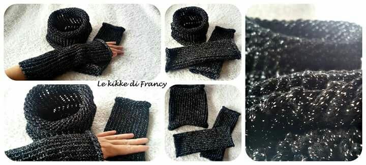 Set in lana nera con lamé argento, scaldacollo tubolare con manicotti-scalda polsi 😆