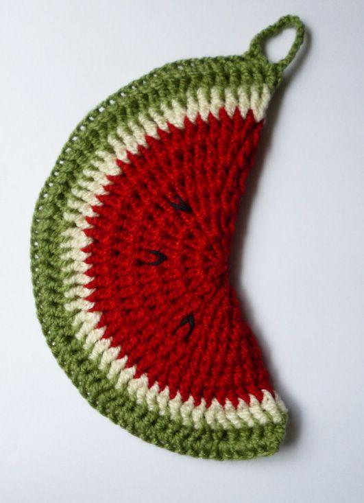 Watermelon crochet pot holder
