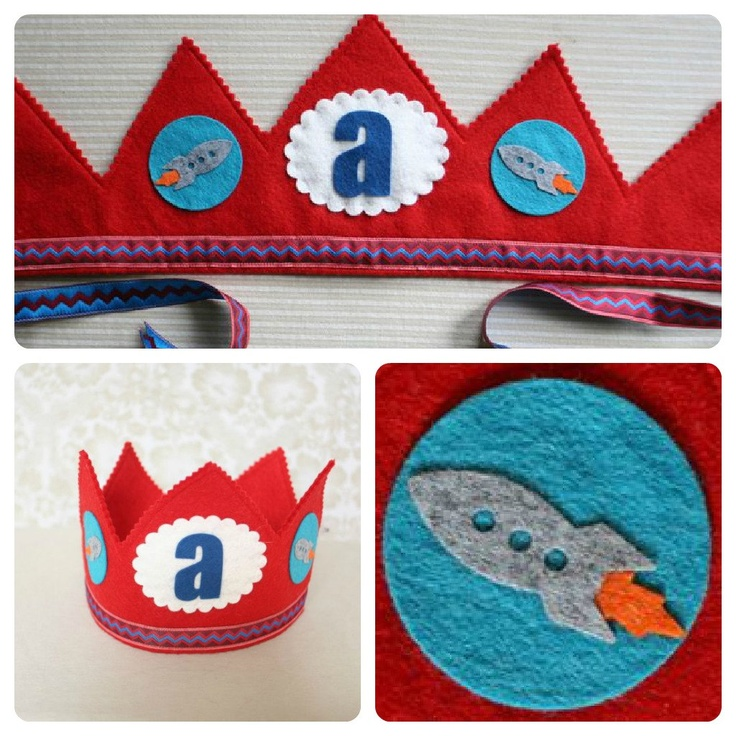 rocket birthday party - red felt birthday crown - outer space party. $32.00, via Etsy.