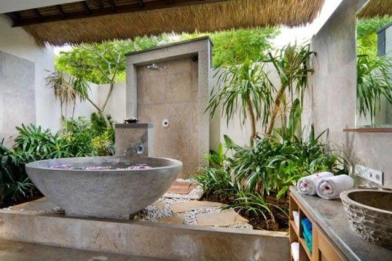 42 Inspiring Tropical Bathroom Décor Ideas : 42 Amazing Tropical Bathroom Décor Ideas With Stone Bathroom Wall Bathtub Wash Basin Mirror Towel Wooden Ceiling And Ceramic Floor And Outdoor View