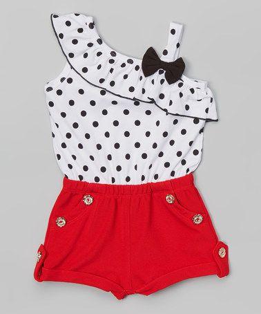 Loving this White & Red Polka Dot Romper - Toddler & Girls on #zulily! #zulilyfinds