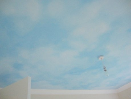 37 best images about nursery on pinterest spaceships for Ceiling mural clouds