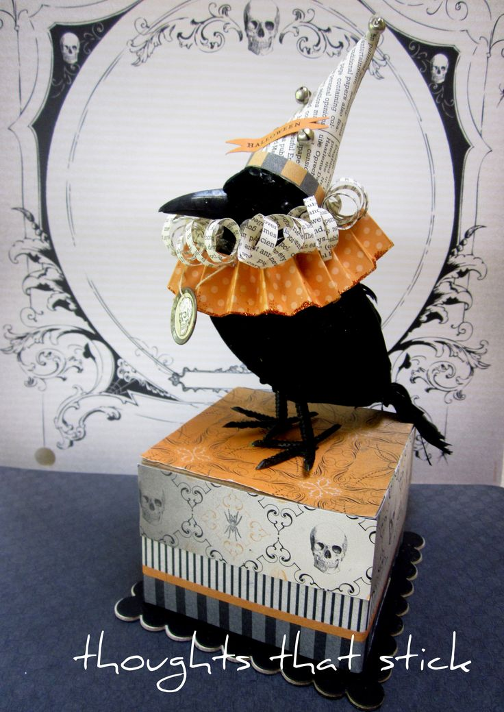Vintage Halloween Crow - @K D Eustaquio Dauel Huffington..purchase a store bird, decorate the box and bird and wallah