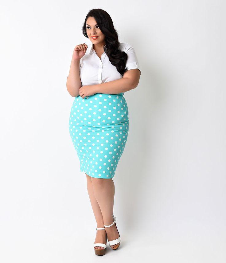 Plus Size Mint & White Dot High Waist Stretch Pencil Skirt