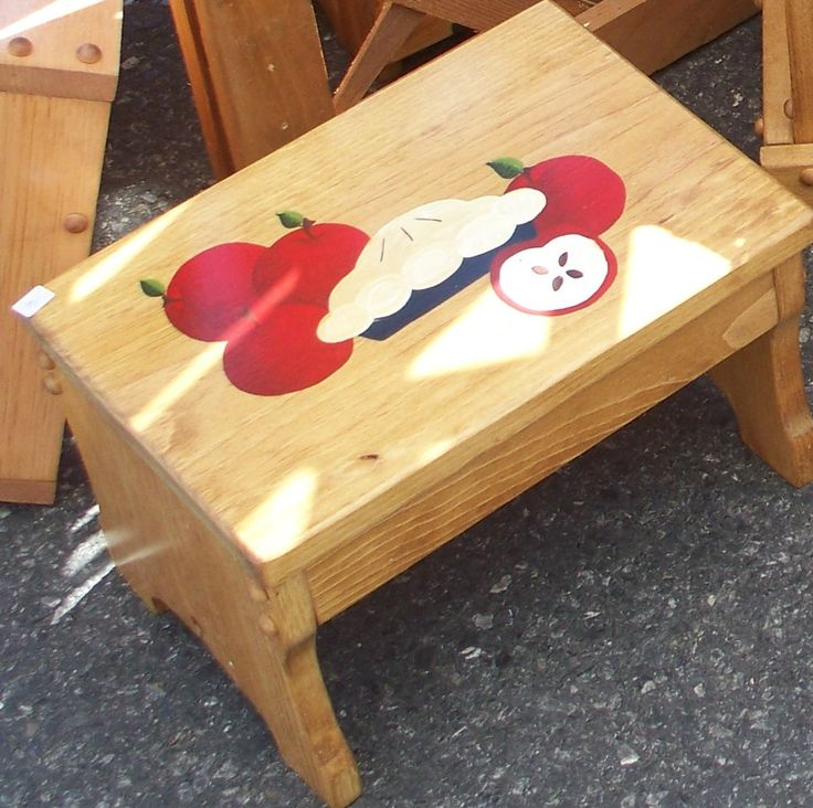 step stool wooden step stool acrylic painting red and green apples apple pie kitchen step stoolfoot stool decorative stool bench - Step Stool