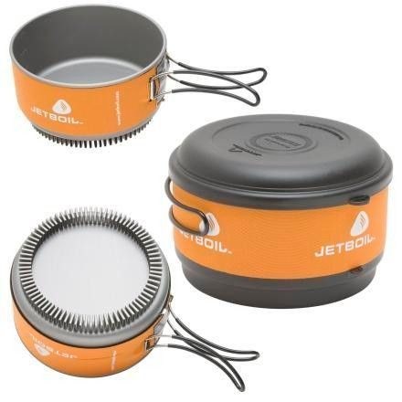 The Jetboil 1.5 Liter Cooking Pot boils water FAST and is easy to clean