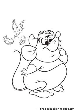 printable disney characters cinderellas mice and birds coloring pages more