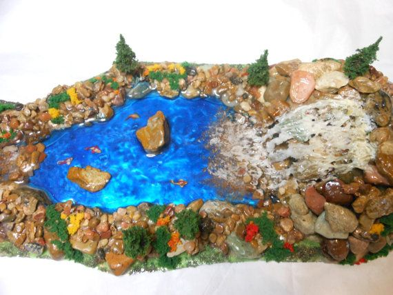 Fairy Garden River/Waterfall/Fish-OOAK-Large Fairy by Hittsonhouse