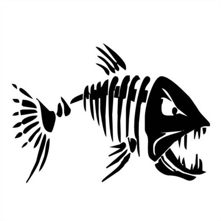 Mad Fish Vinyl Decal Sticker Tribal Salt Bones Fishing