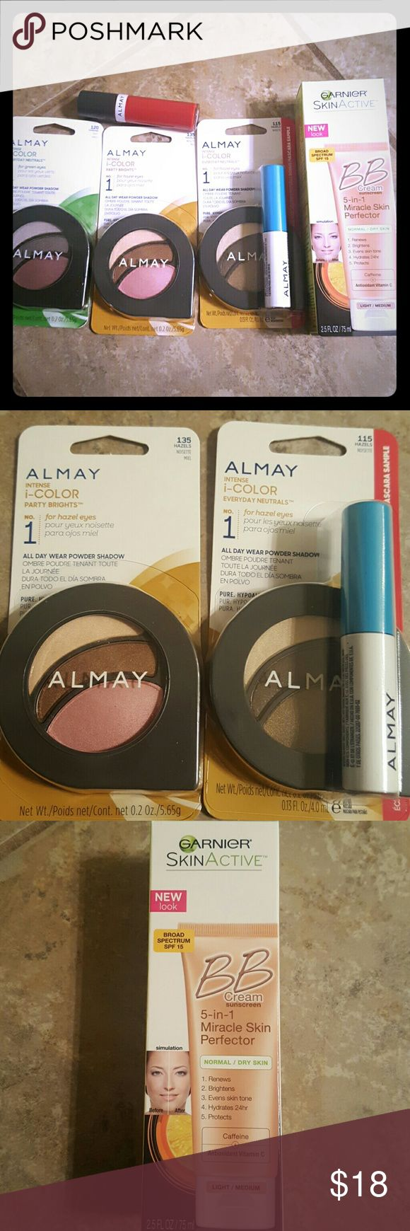 "Makeup bundle Light to medium skin tone,hazel eye bundle with a bonus green eye kit. Garnier BB Cream 5 in 1 Miracle Protector. Lipgloss in ""Apple a Day"" Makeup"