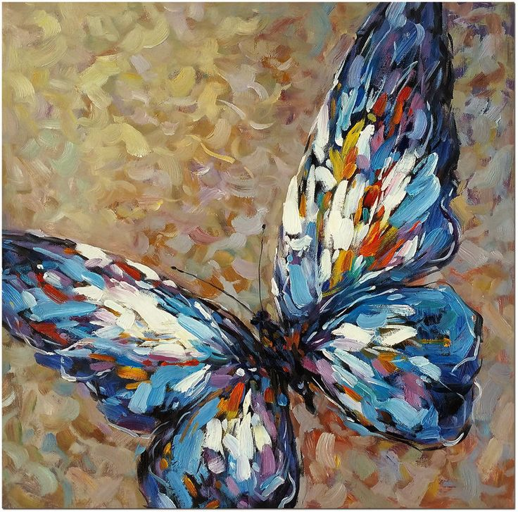 Blue Butterfly - Signed Hand Painted Abstract Butterfly Oil Painting Fine Art #Abstract