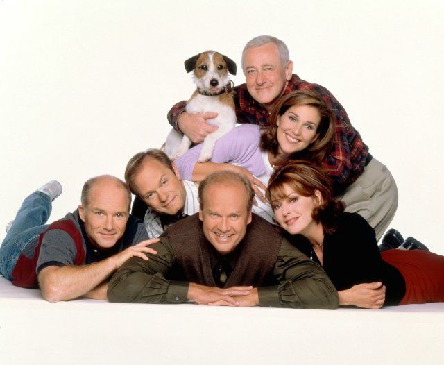 Kelsey Grammer, David Hyde Pierce, John Mahoney, Peri Gilpin, Jane Leeves and Dan Butler in Frasier