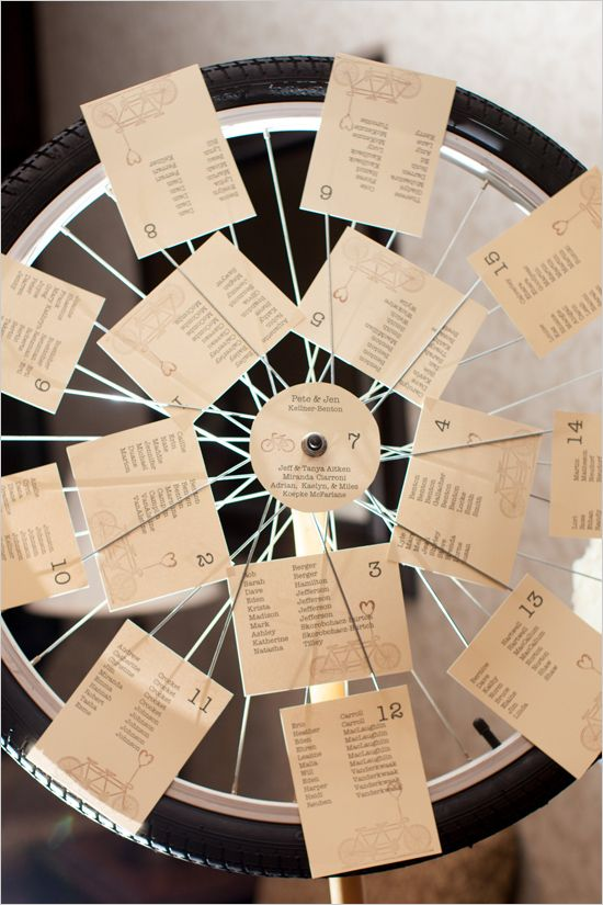 bicycle wheel seating chart | diy seating chart ideas | bicycle themed wedding | #weddingchicks