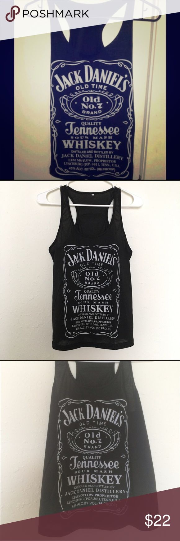 Jack Daniels whiskey 🥃 tank top Jack Daniels black whiskey tank top. Loose fitting. Unknown brand. New with tags. Steve Madden Tops Tank Tops