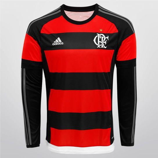 Camisa Adidas Flamengo I 15/16 s/nº M/L - Vermelho+Preto