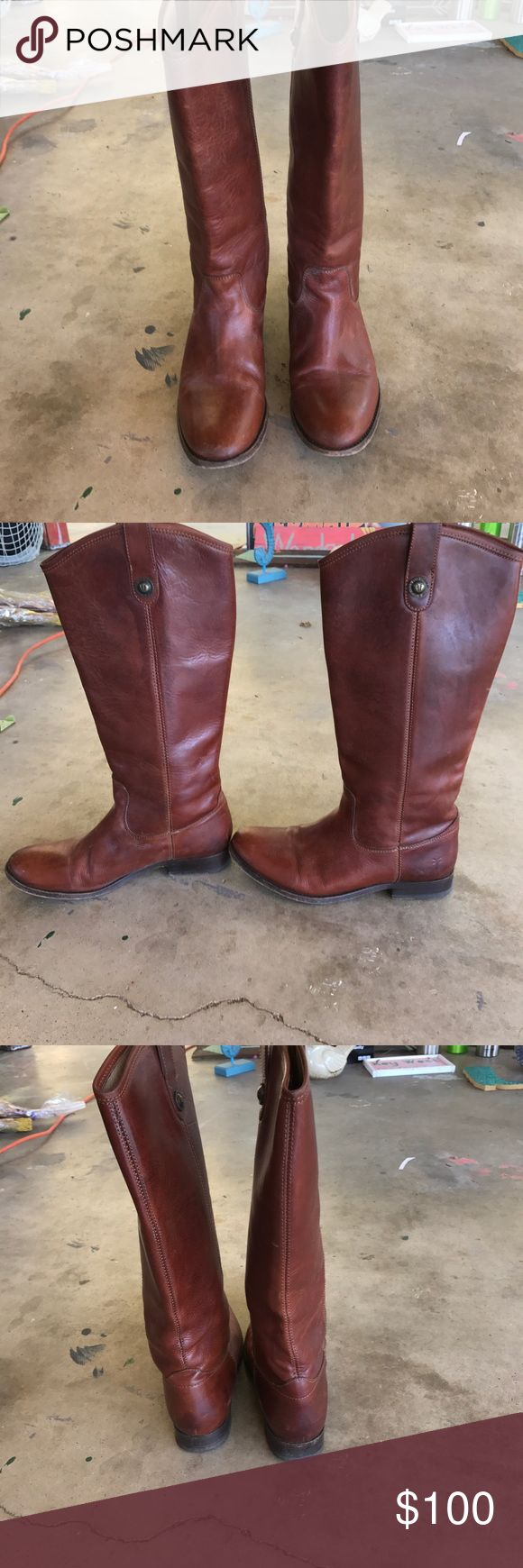 Frye Riding Boots Camel color Frye riding boots. Size 8. Normal wear and tear on boots. Frye Shoes Winter & Rain Boots