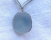 Rare Grey Blue Seaglass Pendant