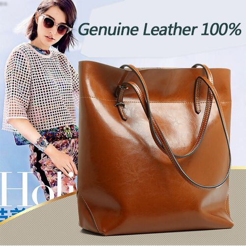2015 New Famous Brands Brown Genuine Leather Bucket Bag Women Hand bag Ladies Bags Big Shoulder bags handbags Bolsas Femininas