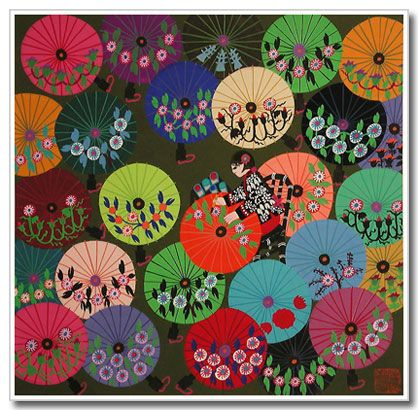 Chinese peasant painting Colorful Umbrellas