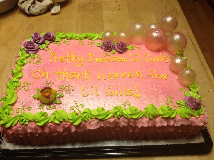Baby shower sheet cake with gelatin bubbles