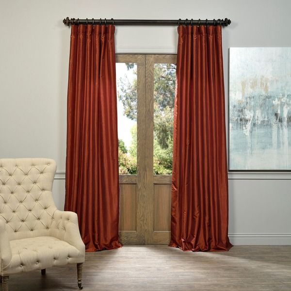 Exclusive Fabrics Burnt Orange Vintage Faux Dupioni Silk Curtain Panel