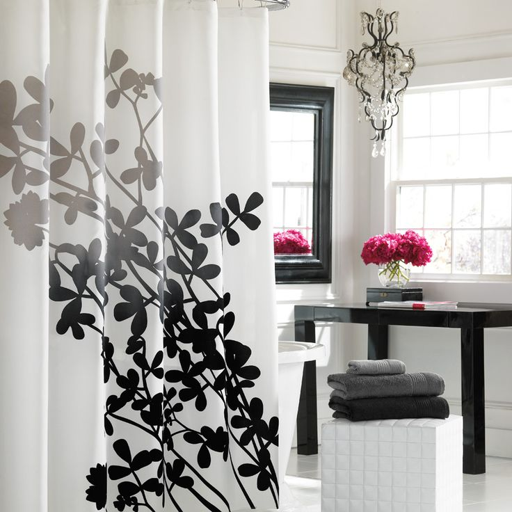 Best Shower Curtains Images On Pinterest Curtains Bathroom - Black and white flower shower curtain
