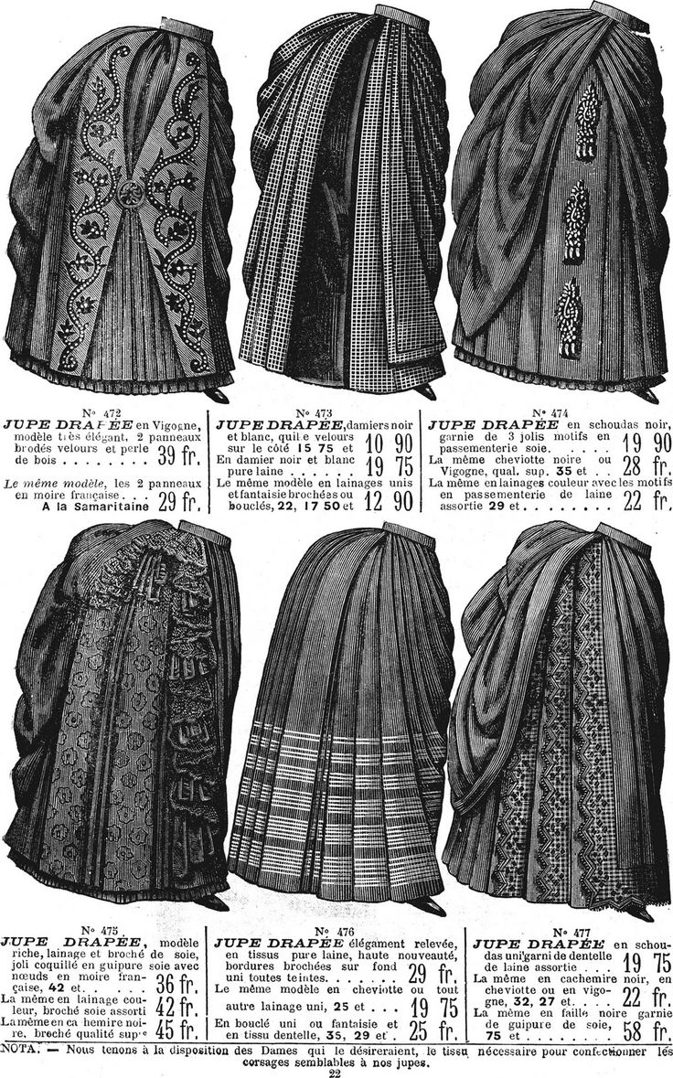 French catalog illustration, women's skirts, 1886. this is a page from a french catalog, it shows the prices, and styles of the victorian age #apeurovictoria