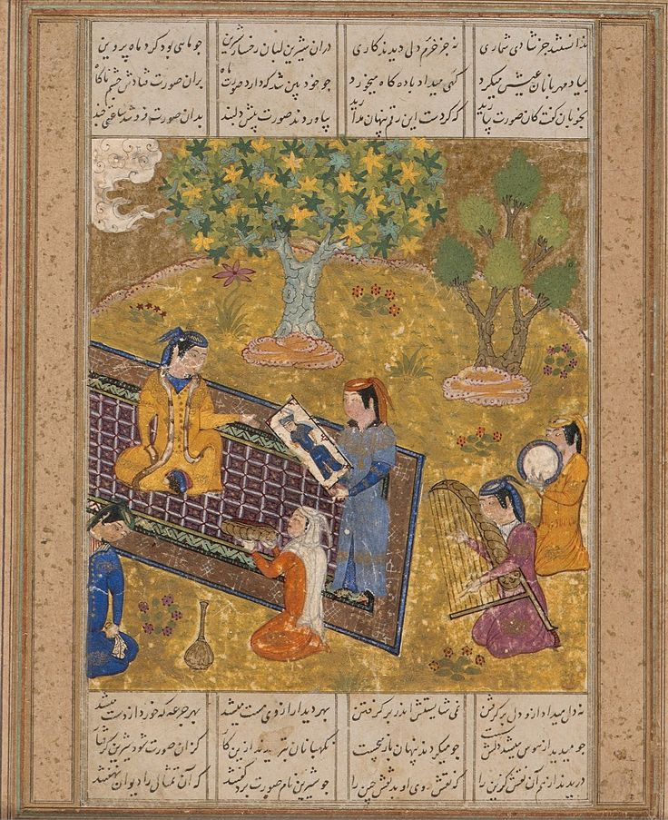 نه دل میداد ازو دل بر گرفتن نه میشایستش اندر بر گرفتن بهر دیداری ازوی مست میشد به هر جامی که خورد از دست میشد نمودن شاپور صورت خسرو را بار اول، نگارگر ناشناس، هرات، سده ۱۵ ترسایی، ۱۱.۷در ۱۰.۶ سانتیمتر، گواش، آبرنگ و طلا بر روی کاغذ، موزه هنر لس آنجلس Shirin Sees a Portrait of Khusraw, Page from a Manuscript of the Khamsa (Quintet) of Nizami Unknownmid-15th century Details Title: Shirin Sees a Portrait of Khusraw, Page from a Ma...