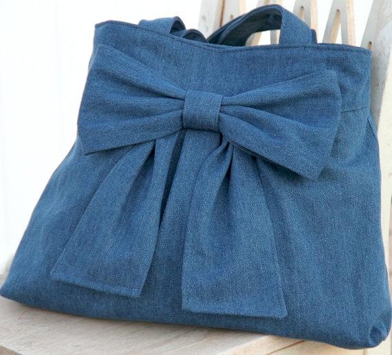 Denim Bow Bag / Purse With