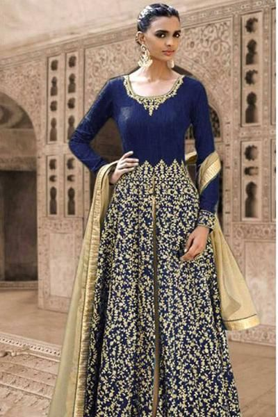 "Description: Buy blue georgette designer suit with best price at Variation.Huge collection of designer suits, anarkali suits online, punjabi suits, patiala suits, churidar salwar suits and salwar kameez online shopping. Product Type: Designer Suits Color: Salwar - Cream, Kameez - Blue, Dupatta - Cream Fabric: Salwar - Santoon, Kameez - Georgette, Dupatta - Nazneen Customized Upto: 42""(Ideal for Small, Medium and Large sizes ) Occasion: Party Package contains: 1 Salwar (Unstitched) ..."